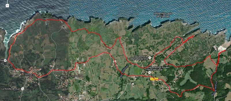Mapa ruta los bufones de Pria